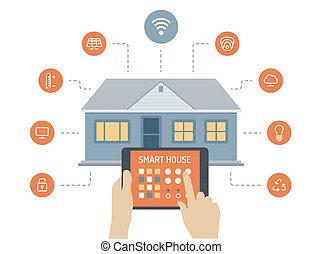 房子, 概念, 聰明, 插圖, 套間