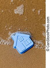 房子, 沙子, 玩具, 躺, 塑料