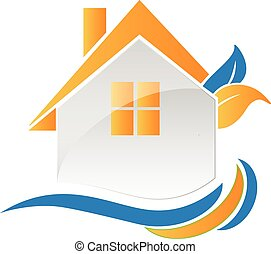 房子, 波浪, 葉子, 標識語