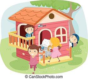 房子, 玩, 孩子, stickman