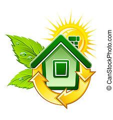 房子, 符號, 能量, 生態, 太陽