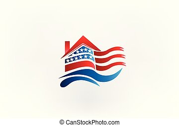 房子, 美國旗, 標識語