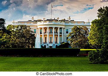 房子, 華盛頓, dc., 天, 夏天, 美麗, 白色
