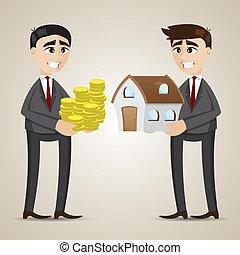 房子, 貿易, 卡通, 代理, 商人