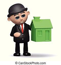 房子, 3d, 綠色, 商人