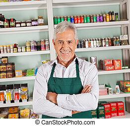 所有者, 高級的雄性, 微笑, 超級市場