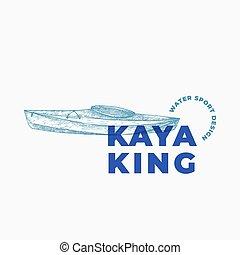 手徵候, kayak, 畫, 象征, typography., 或者, 水, 矢量, 符號, 小船, 現代, 略述, 標識語, kayaking, 運動, 獨木舟, concept., 摘要, template.