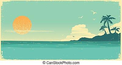 手掌, 波浪, 海, 葡萄酒, paradise., 背景, 島, 海報, 熱帶