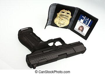 手槍, fbi, 徽章