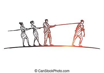 手, 不同, 人們, 畫, 繩子, 拉, 邊