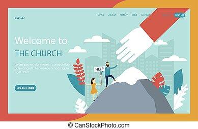 手。, 套間, 字符, buttons., 教堂, 概念, 背景, 接口, 網站, 宗教, 插圖, 网頁, 巨大, 卡通, style., 正文, 幫助, 矢量, 藍色的山, 攀登, 作品