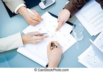 手, 會議, 事務