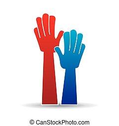 手, 簽署, raised., 向上, 圖象