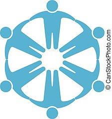 手, 藏品, 人們, logo., 環繞