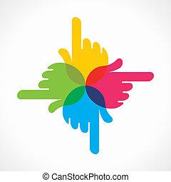 手, 設計, 創造性, 鮮艷, 圖象