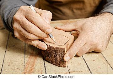 手, 鑄坯, 木頭, 素描, woodworker
