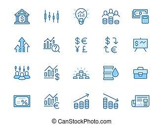 打擊, 線, editable, set., 最小, 矢量, 市場, 簡單, 債券, 金融投資, 收入, 增加, 分析, 顏色, 簽署, 股票, outline, 投資者, 經紀人, application., 藍色, illustration., 圖象