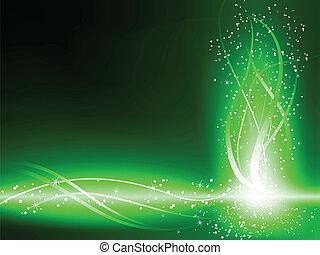打旋, 綠色的背景, 星