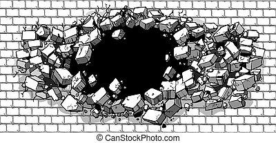 打破, 牆, 磚, 洞, 透過