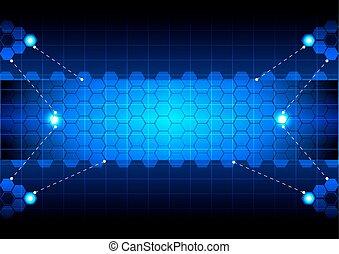技術, 六角形, 藍色, 摘要
