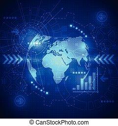 技術, 摘要, 全球, 背景, 矢量, telecoms, 未來, 電