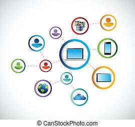 技術, connection., 插圖, 人們