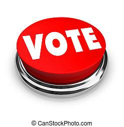 投票, 按鈕, -, 紅色