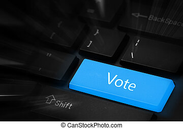 投票, 藍色, 按鈕, 鍵盤