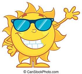 招手, 太陽, 微笑, 太陽鏡