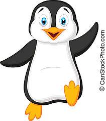 招手, 漂亮, 卡通, 企鵝