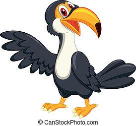 招手, 漂亮, 巨嘴鳥, 鳥, 卡通