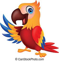 招手, 漂亮, 金剛鸚鵡, 鳥, 卡通