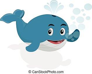 招手, 鯨魚, 卡通