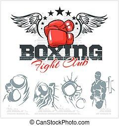 拳擊, illustration., 圖象, set., 標籤, 矢量