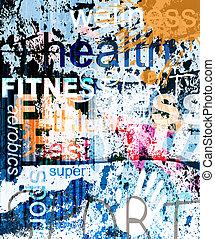 拼貼藝術, 背景。, 詞, grunge, fitness.