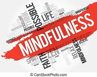 拼貼藝術, 詞, 雲, mindfulness