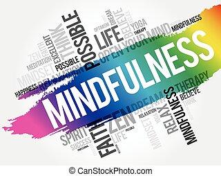 拼貼藝術, mindfulness, 雲, 詞