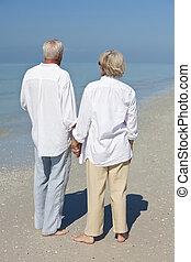 拿, 夫婦, 熱帶, 手, 年長者, 海灘, 愉快