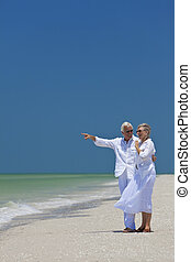 指, 夫婦, 熱帶, 海, 年長者, 海灘, 愉快
