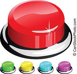 按鈕, 被隔离, 插圖, 矢量, 白色紅, 3d