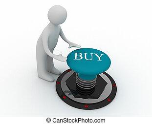 按鈕, 購買, 3d, 推, 人
