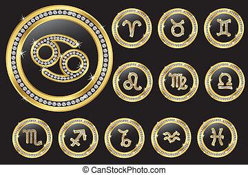 按鈕, 黃金, 十二宮圖簽名, d