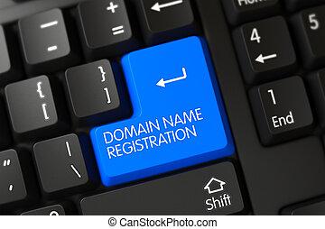 按鈕, keyboard., 3d., 域名, 登記, 藍色