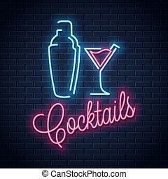 振動器, 雞尾酒, 氖徵候, 黨, logo.