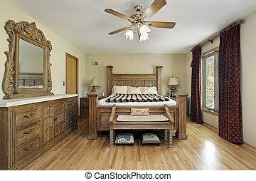 掌握, 家具, 木頭, 橡木, 寢室
