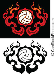 排球, 燃燒, 邊框