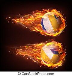 排球, 落下, 火焰, 火, 球, 飛行