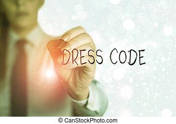 接受, 或者, 穿著, 方式, 詞, 商務服裝, 寫, 正文, group., 場合, 特殊, 概念, code.