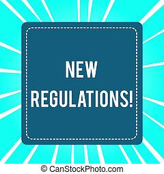 控制, 概念, 做, 政府, 規則, 正文, 意思, regulations., 某事, 新, 書法, done., 預訂