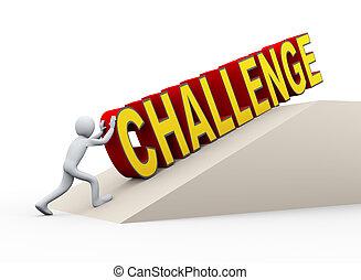 推, 詞, 挑戰, 3d, 人